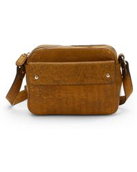 Olivia Harris Compact Distressed Leather Crossbody Bag - Lyst