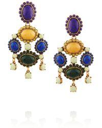 Oscar de la Renta Gold-Plated Cabochon Clip Earrings - Lyst