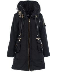 Quiz Black Padded Faux Fur Trim Hood Jacket