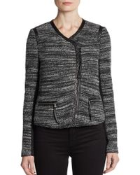 Rebecca Taylor Faux Leather-Trimmed Boucle Jacket - Lyst