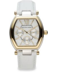 Saks Fifth Avenue - Two-tone Sub-dial Leather Strap Watch - Lyst