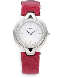 Valentino Diamond Stainless Steel Lizard Skin Watch - Red
