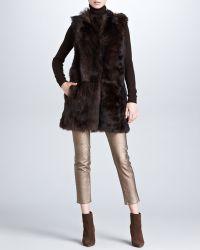 Ralph Lauren Black Label - Long Shearling Fur Vest Sepia - Lyst