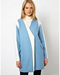 ASOS - Coat with Asymmetric Color Block - Lyst