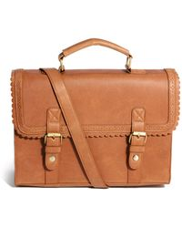 Asos Large Satchel Bag With Scallop Trim And Front Buckles - Lyst