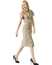 Burberry Baroque Lace Pencil Skirt - Lyst