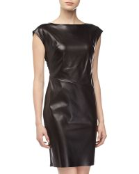 Catherine Malandrino Leatherfront Dress - Lyst