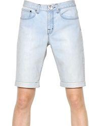 Christopher Kane Stretch Cotton Denim Bermuda Shorts - Blue