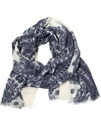 Contileoni - Gauze Wool and Cashmere Printed Scarf - Lyst
