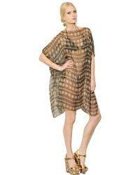 Dolce & Gabbana Silk Chiffon Kaftan Dress - Brown