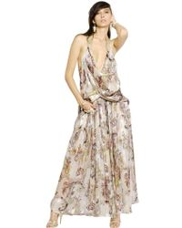 Etro Printed Silk Voile Satin Long Dress - Lyst