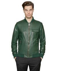 Ferragamo Nappa Leather Bomber Jacket - Green