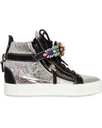 Giuseppe Zanotti 20mm Metallic Leather Jeweled Sneakers - Lyst