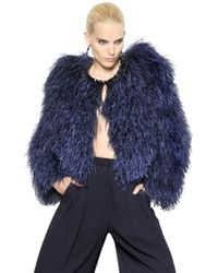 Givenchy Jeweled Ostrich Feather Fur Jacket - Blue