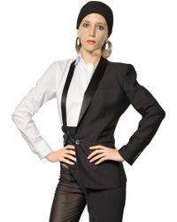 Jean Paul Gaultier Satin Lapel Wool Taffeta Half Jacket - Black