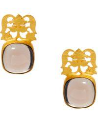 Kasturjewels - 22kt Gold Plated Brass Polished Smokey Quartz Stone Drop Alternate Earrings - Lyst
