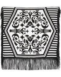 KTZ - Tattoo Printed Leather Fringed Scarf - Lyst