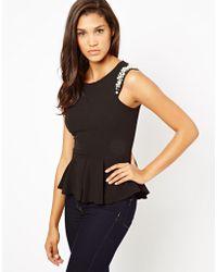 Lipsy Peplum Top with Embellished Shoulder - Lyst