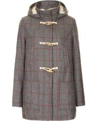 TOPSHOP Check Wool Hooded Duffle Coat - Gray