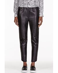 3.1 Phillip Lim Black Panelled Leather Trousers - Lyst