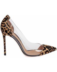 Gianvito Rossi Clear Pvc Leopard Pony Hair Pumps - Lyst