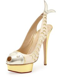 Charlotte Olympia Catch Of The Day Platform Pump Whiteplatinumgold - Lyst