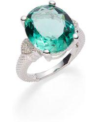 Judith Ripka Green Oval Stone Diamond Ring - Lyst