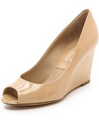 Michael Kors Collection Valari Patent Peep Toe Wedges - Lyst