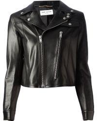 Saint Laurent Cropped Biker Jacket - Lyst