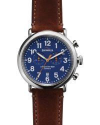 Shinola The Runwell Chronograph Brown Strap Watch, 47Mm - Lyst