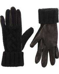 Barneys New York Cable Knitleather Gloves - Lyst