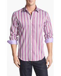 Bugatchi Shaped Fit Stripe Sport Shirt - Lyst