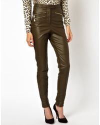 Asos Leather Trouser With Biker Detail - Lyst