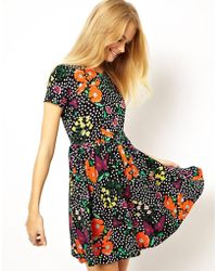 Asos Skater Dress in Spot and Floral Print with Tie Back - Lyst