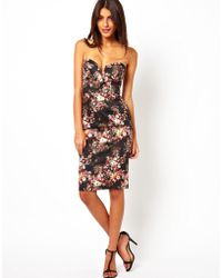 Asos Structured Bandeau Floral Pencil Dress - Lyst