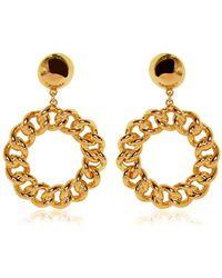 Moschino Chain Circle Gold Plated Earrings - Metallic