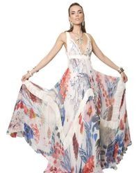 Roberto Cavalli Floral Printed Silk Chiffon Long Dress - Lyst