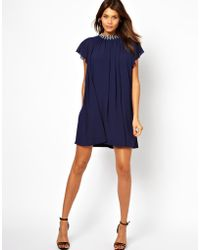 TFNC Tfnc Swing Dress with Embellished Neck - Lyst