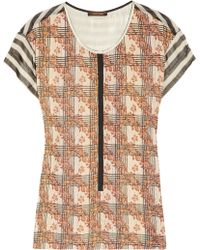 Vineet Bahl Embroidered Printed Chiffon Top - Brown