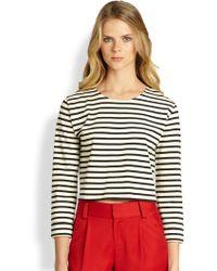 Alice + Olivia Striped Boxy Crop Top - Lyst