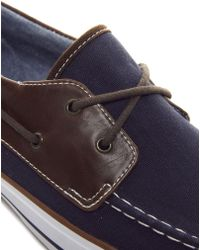 ASOS Boat Shoes in Herringbone Canvas - Blue