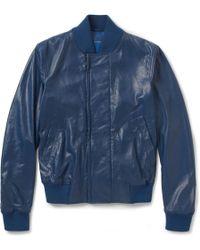 Bottega Veneta Leather Bomber Jacket - Blue
