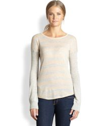 Cardigan | Esme Cashmere Heathered Striped Sweater | Lyst