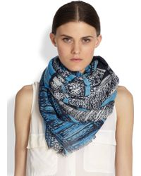 Cynthia Vincent Printed Woven Scarf - Blue