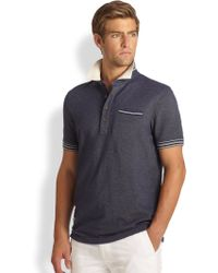 Façonnable Striped Knit Polo Shirt - Gray