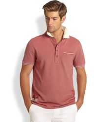 Façonnable Striped Knit Polo Shirt - Red