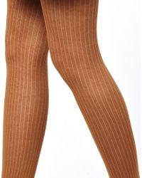 Ganni Rib Sock Tights - Brown