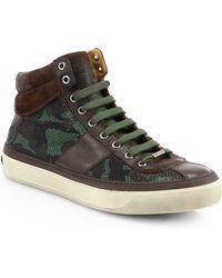 Jimmy Choo Camo Print High-Top Sneakers - Lyst