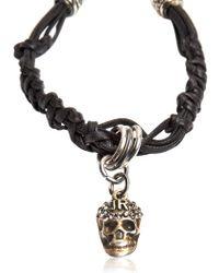 John Richmond - Metallic Skull Woven Leather Bracelet - Lyst