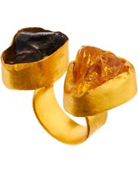 Kasturjewels Adjustable Brass Plated 22kt Gold Statement Ring with Semiprecious Stones - Metallic